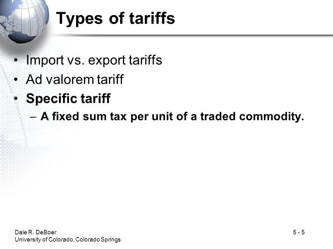 Dale R.DeBoer University of Colorado, Colorado Springs 5 - 5 Types of tariffs Import vs.