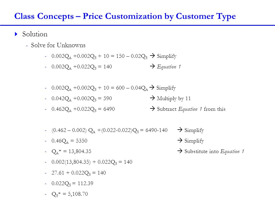 Class Concepts – Price Customization by Customer Type Solution -Solve for Unknowns -0.002Q A +0.002Q S + 10 = 150 – 0.02Q S Simplify -0.002Q A +0.022Q