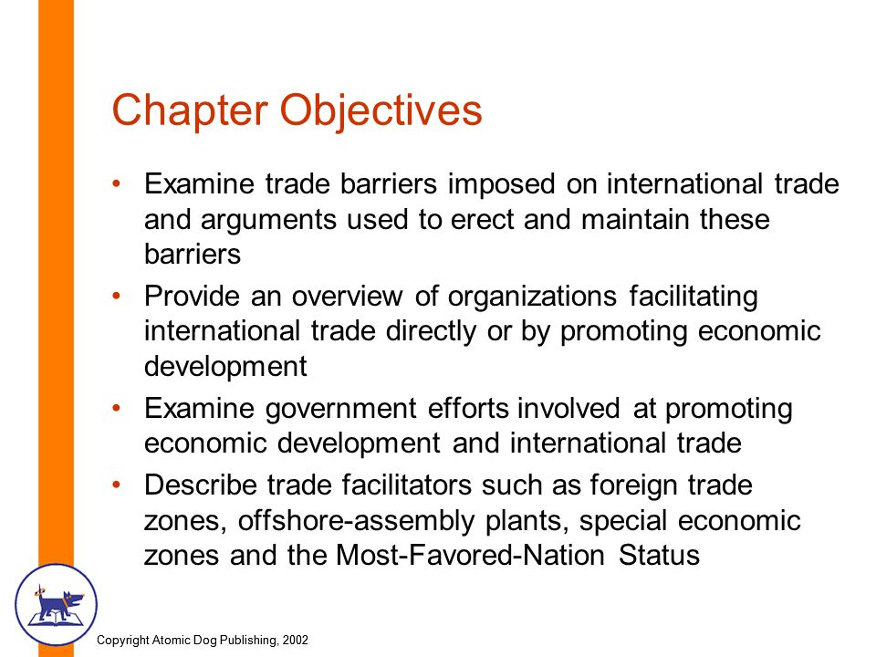 Copyright Atomic Dog Publishing, 2002 Chapter Objectives Examine trade barriers imposed on international trade and arguments used to erect and maintai