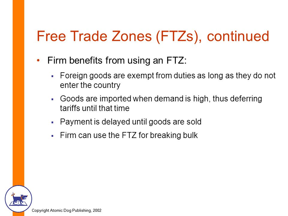 Copyright Atomic Dog Publishing, 2002 Free Trade Zones (FTZs), continued Firm benefits from using an FTZ: Foreign goods are exempt from duties as long