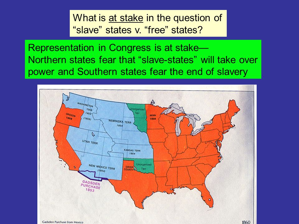 What is at stake in the question of slave states v.