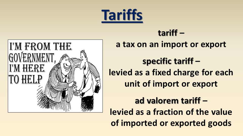 Export Subsidies export subsidy export subsidy – a payment awarded to producers for exports specific subsidy specific subsidy – awarded as a fixed payment for each unit of export ad valorem subsidy ad valorem subsidy – awarded as a fraction of the value of exported goods