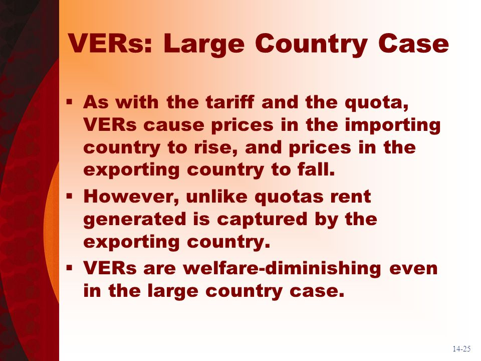 14-25 VERs: Large Country Case As with the tariff and the quota, VERs cause prices in the importing country to rise, and prices in the exporting country to fall.
