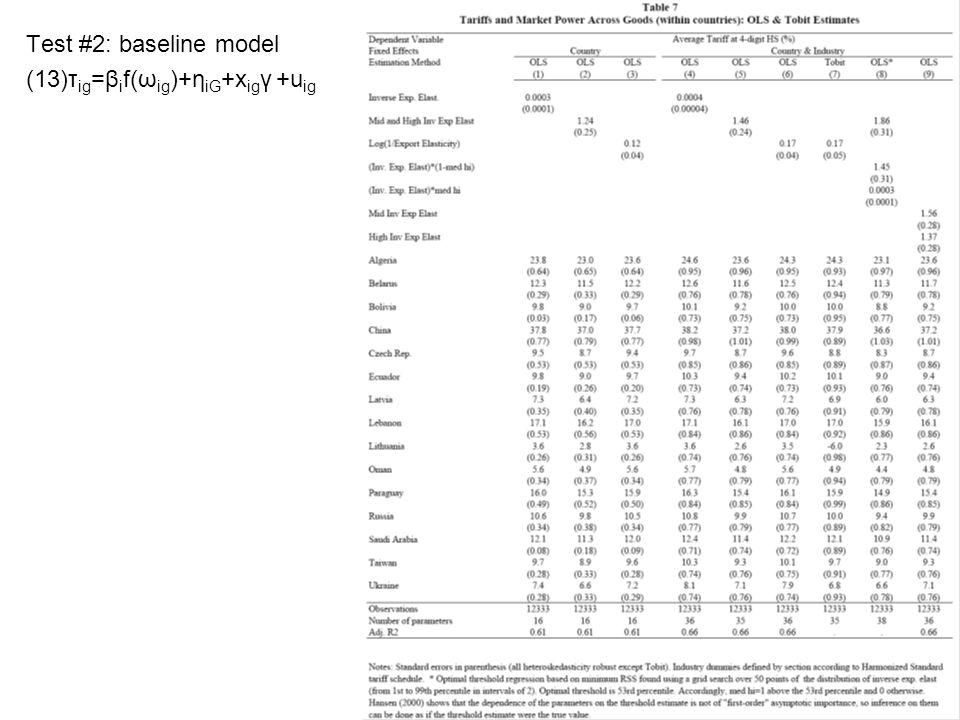 Test #2: baseline model (13)τ ig =β i f(ω ig )+η iG +x ig γ +u ig