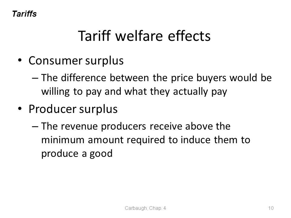 Tariff welfare effects Consumer surplus – The difference between the price buyers would be willing to pay and what they actually pay Producer surplus