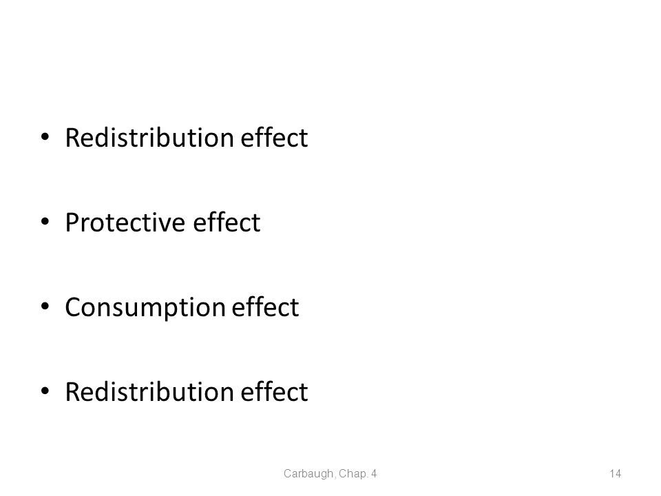 Redistribution effect Protective effect Consumption effect Redistribution effect Carbaugh, Chap. 414