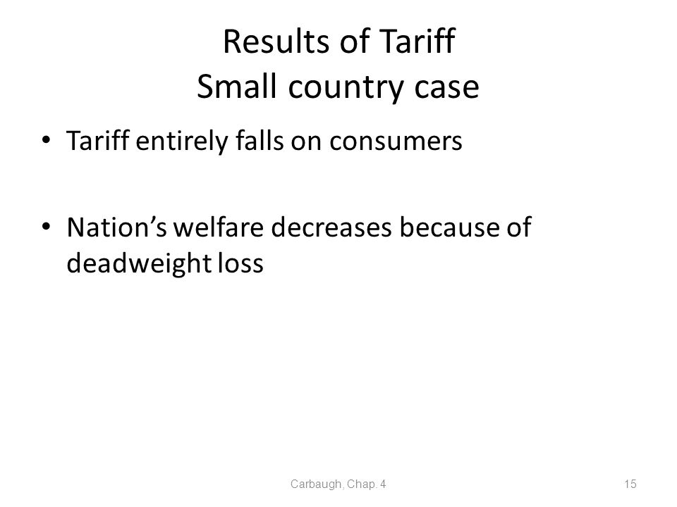 Results of Tariff Small country case Tariff entirely falls on consumers Nations welfare decreases because of deadweight loss Carbaugh, Chap. 415