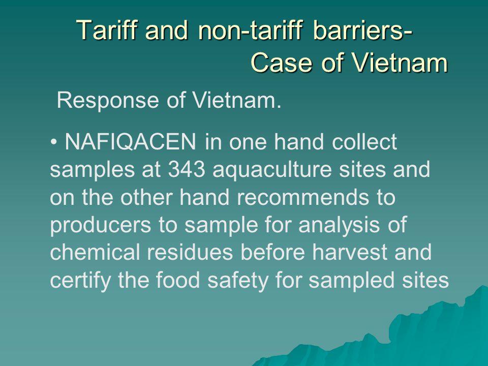 Tariff and non-tariff barriers- Case of Vietnam Response of Vietnam.
