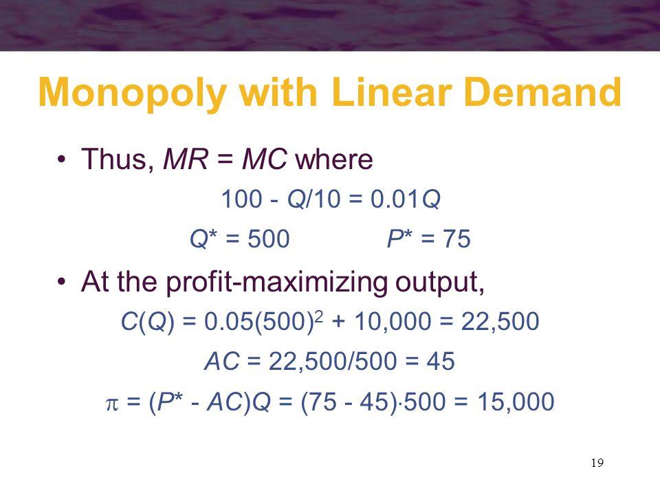 19 Monopoly with Linear Demand Thus, MR = MC where 100 - Q/10 = 0.01Q Q* = 500P* = 75 At the profit-maximizing output, C(Q) = 0.05(500) 2 + 10,000 = 22,500 AC = 22,500/500 = 45 = (P* - AC)Q = (75 - 45) 500 = 15,000