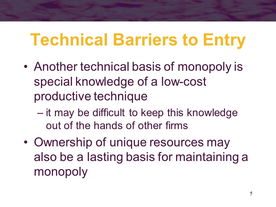 5 Technical Barriers to Entry Another technical basis of monopoly is special knowledge of a low-cost productive technique –it may be difficult to keep this knowledge out of the hands of other firms Ownership of unique resources may also be a lasting basis for maintaining a monopoly