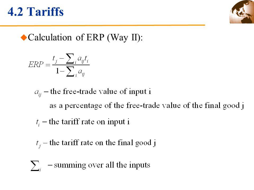 4.2 Tariffs Calculation of ERP (Way II):