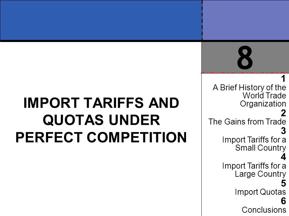 IMPORT TARIFFS AND QUOTAS UNDER PERFECT COMPETITION 1 A Brief History of the World Trade Organization 2 The Gains from Trade 3 Import Tariffs for a Sm