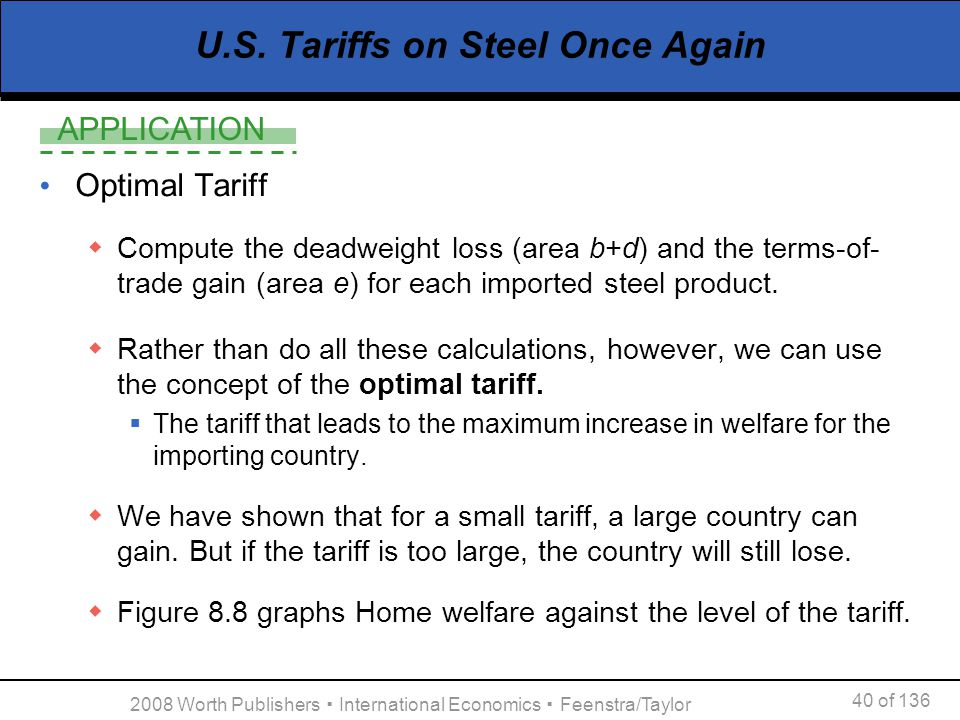 APPLICATION 40 of 136 2008 Worth Publishers International Economics Feenstra/Taylor U.S. Tariffs on Steel Once Again Optimal Tariff Compute the deadwe