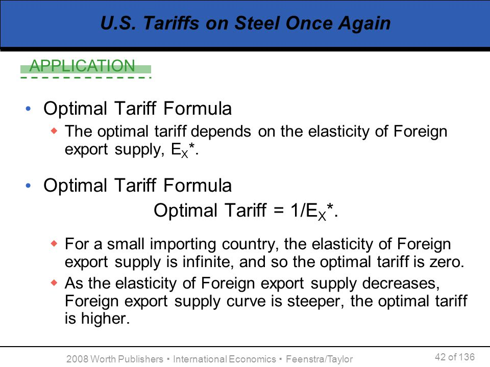 APPLICATION 42 of 136 2008 Worth Publishers International Economics Feenstra/Taylor U.S. Tariffs on Steel Once Again Optimal Tariff Formula The optima