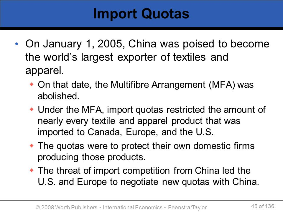 45 of 136 © 2008 Worth Publishers International Economics Feenstra/Taylor Import Quotas On January 1, 2005, China was poised to become the worlds larg