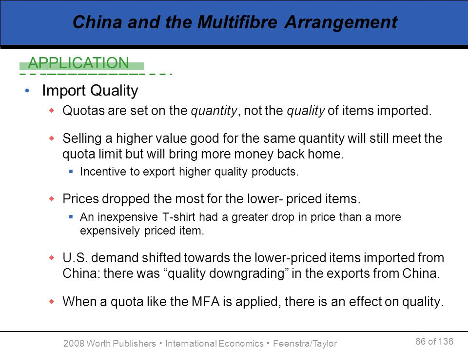 APPLICATION 66 of 136 2008 Worth Publishers International Economics Feenstra/Taylor China and the Multifibre Arrangement Import Quality Quotas are set