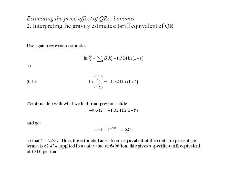 Estimating the price effect of QRs: bananas 2.