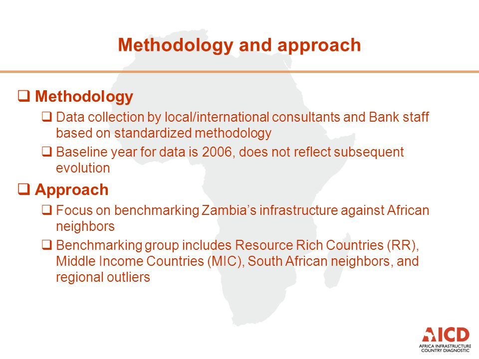 Methodology and approach Methodology Data collection by local/international consultants and Bank staff based on standardized methodology Baseline year