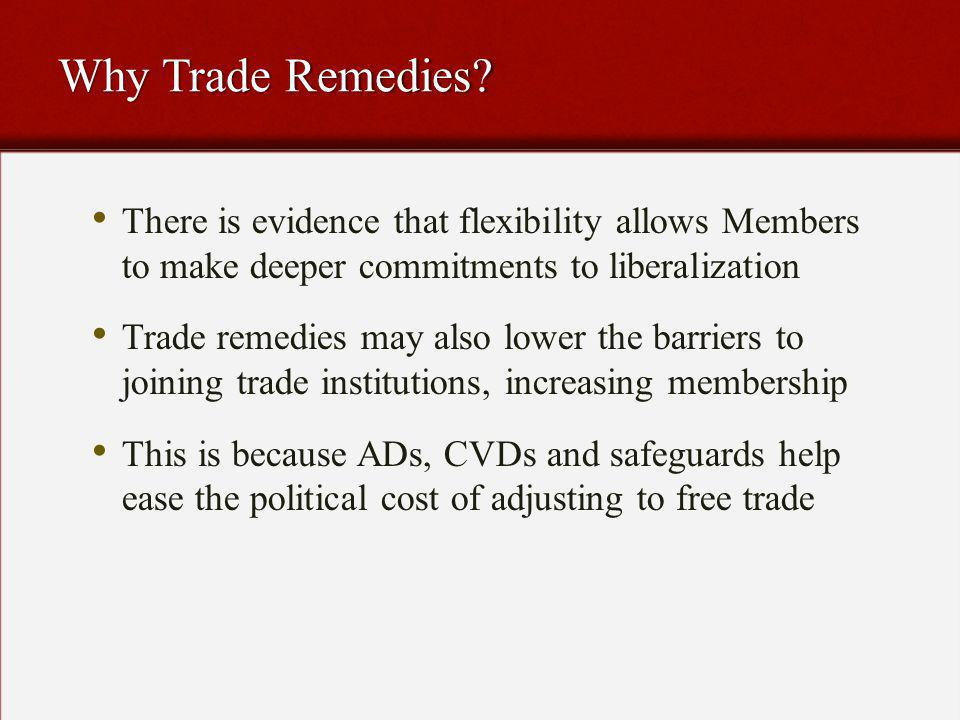 Yet Flexibility Comes at a Cost Trade remedies create uncertainty and thus can reduce international commerce Trade remedies create uncertainty and thus can reduce international commerce The easier it is to use trade remedies, the more likely they are to be abused The easier it is to use trade remedies, the more likely they are to be abused Trade remedies may thus simply substitute for tariff liberalization: law of constant protection