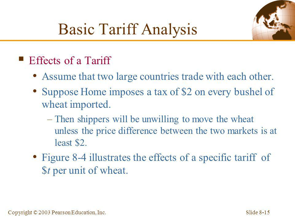 Slide 8-15Copyright © 2003 Pearson Education, Inc. Effects of a Tariff Assume that two large countries trade with each other. Suppose Home imposes a t