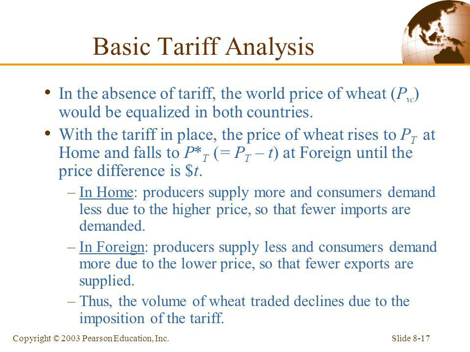 Slide 8-17Copyright © 2003 Pearson Education, Inc. In the absence of tariff, the world price of wheat (P w ) would be equalized in both countries. Wit