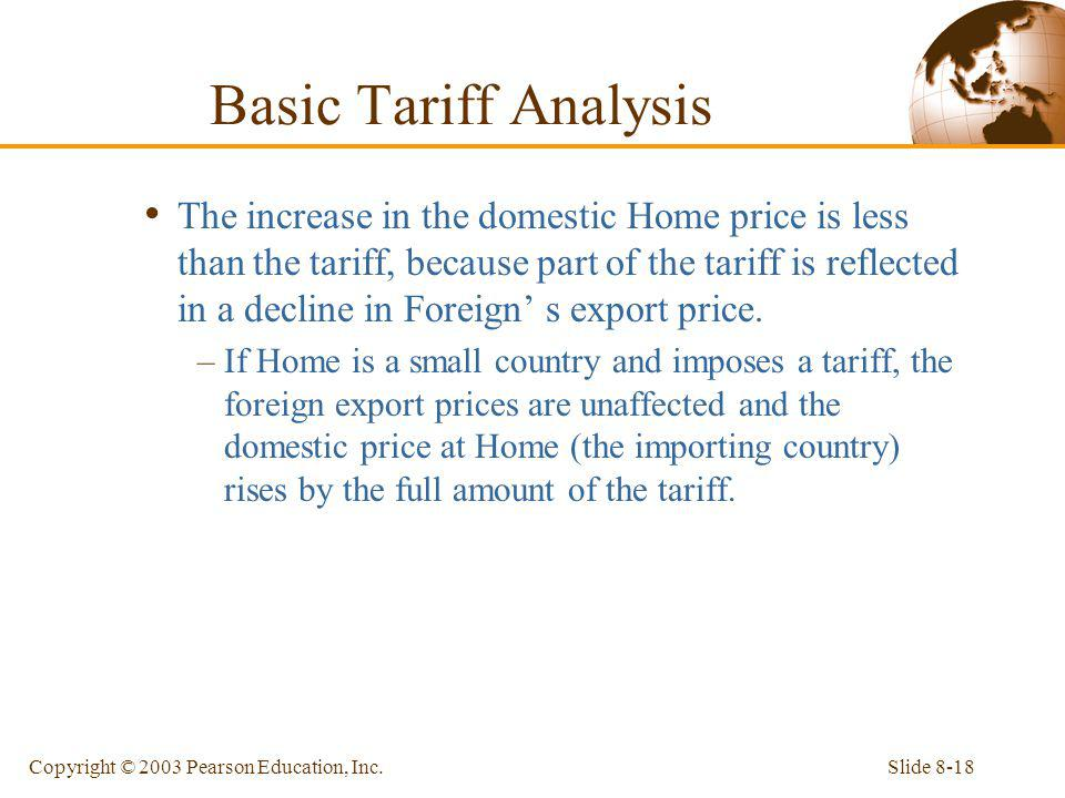 Slide 8-18Copyright © 2003 Pearson Education, Inc. The increase in the domestic Home price is less than the tariff, because part of the tariff is refl