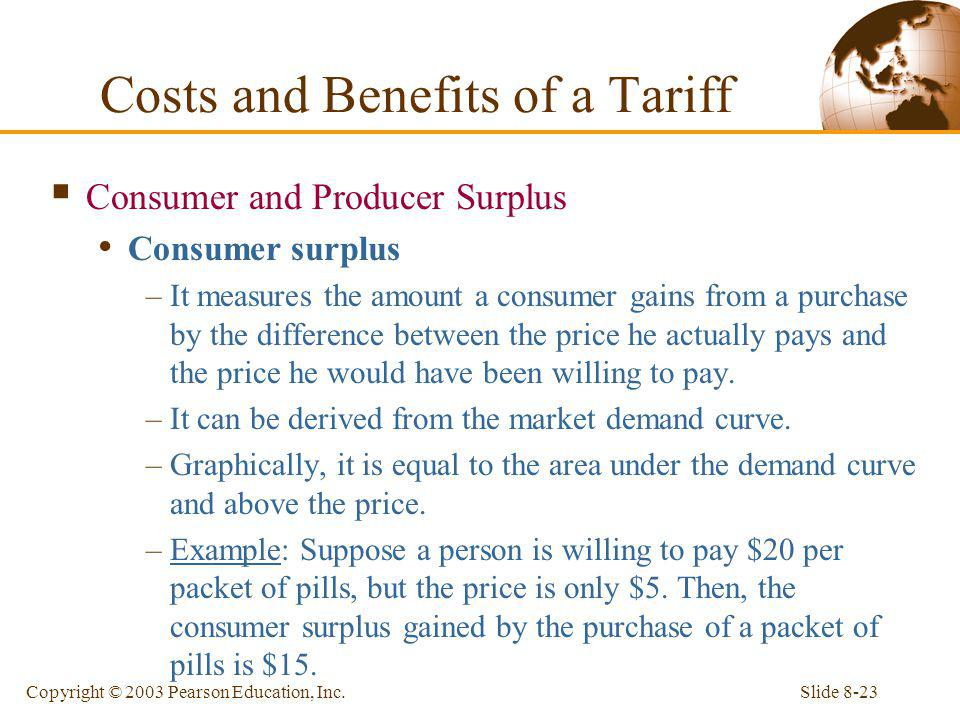 Slide 8-23Copyright © 2003 Pearson Education, Inc. Consumer and Producer Surplus Consumer surplus –It measures the amount a consumer gains from a purc