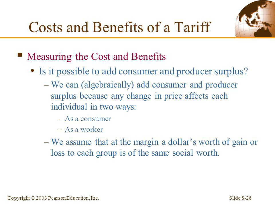 Slide 8-28Copyright © 2003 Pearson Education, Inc. Costs and Benefits of a Tariff Measuring the Cost and Benefits Is it possible to add consumer and p