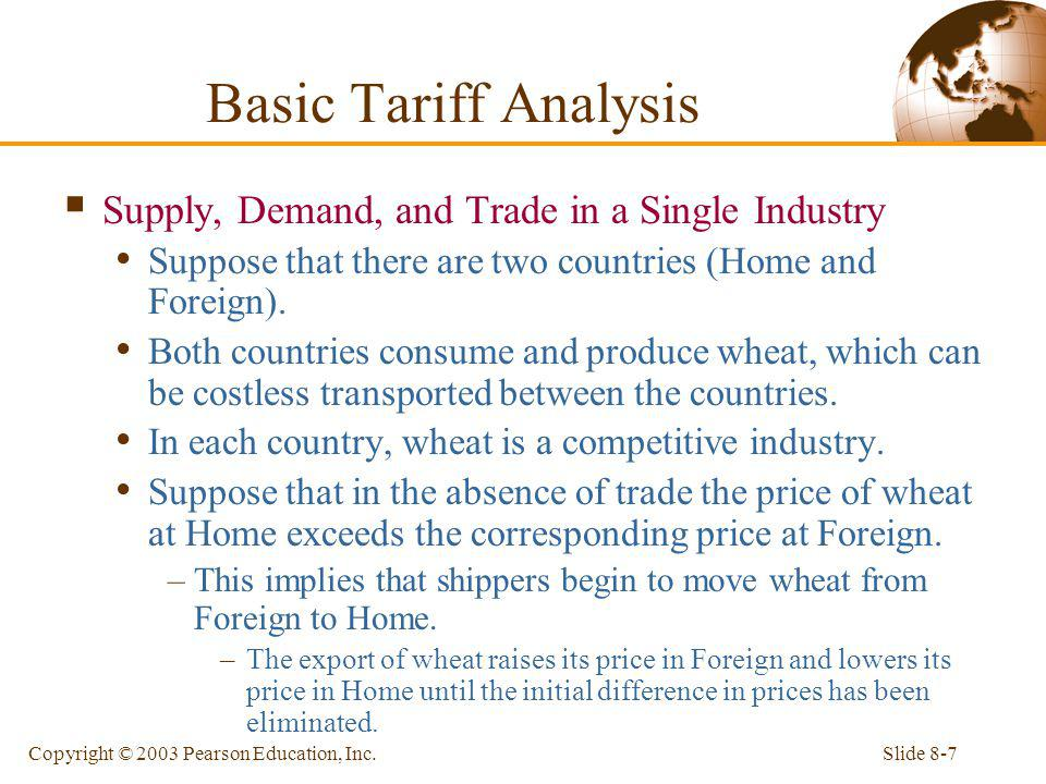 Slide 8-7Copyright © 2003 Pearson Education, Inc. Supply, Demand, and Trade in a Single Industry Suppose that there are two countries (Home and Foreig