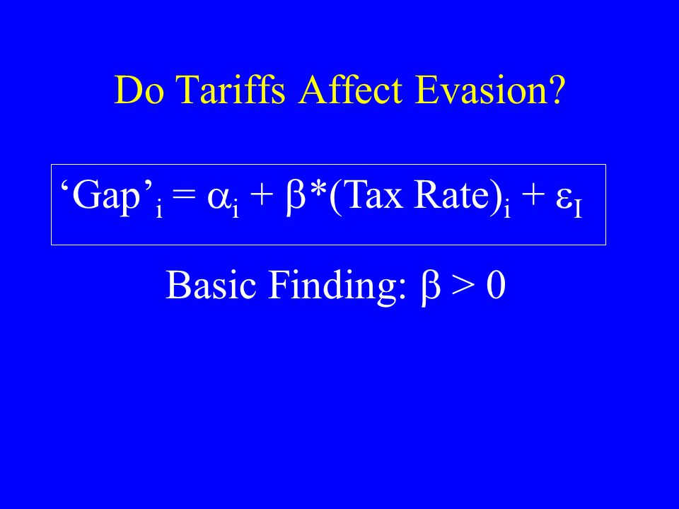 Do Tariffs Affect Evasion Gap i = i + *(Tax Rate) i + I Basic Finding: > 0