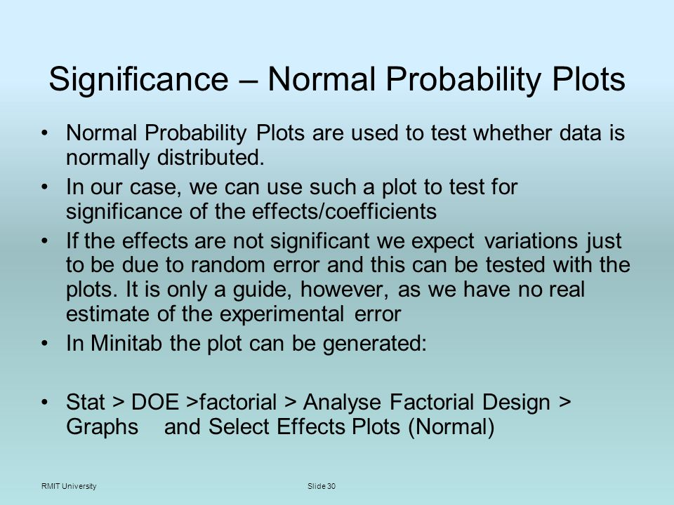 RMIT UniversitySlide 30 Significance – Normal Probability Plots Normal Probability Plots are used to test whether data is normally distributed.