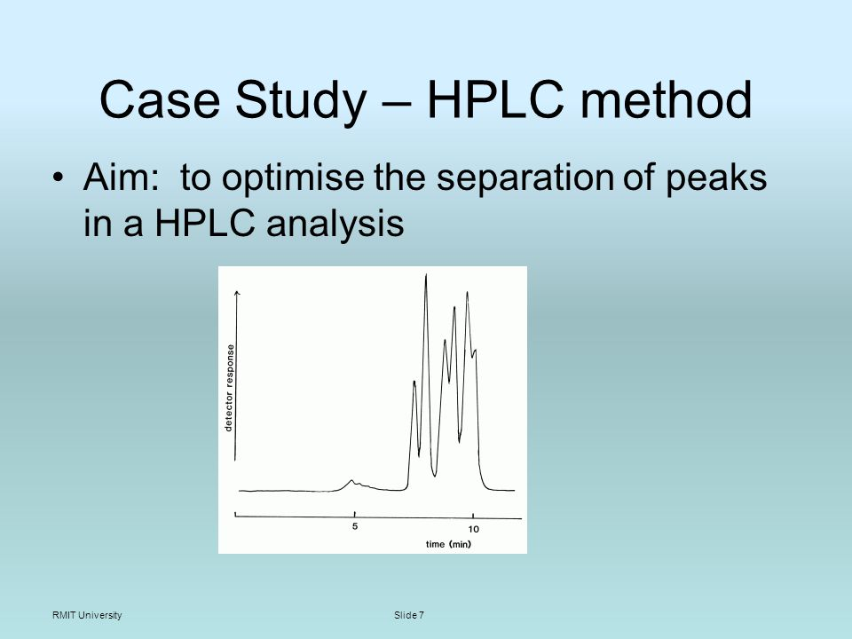 RMIT UniversitySlide 7 Case Study – HPLC method Aim: to optimise the separation of peaks in a HPLC analysis