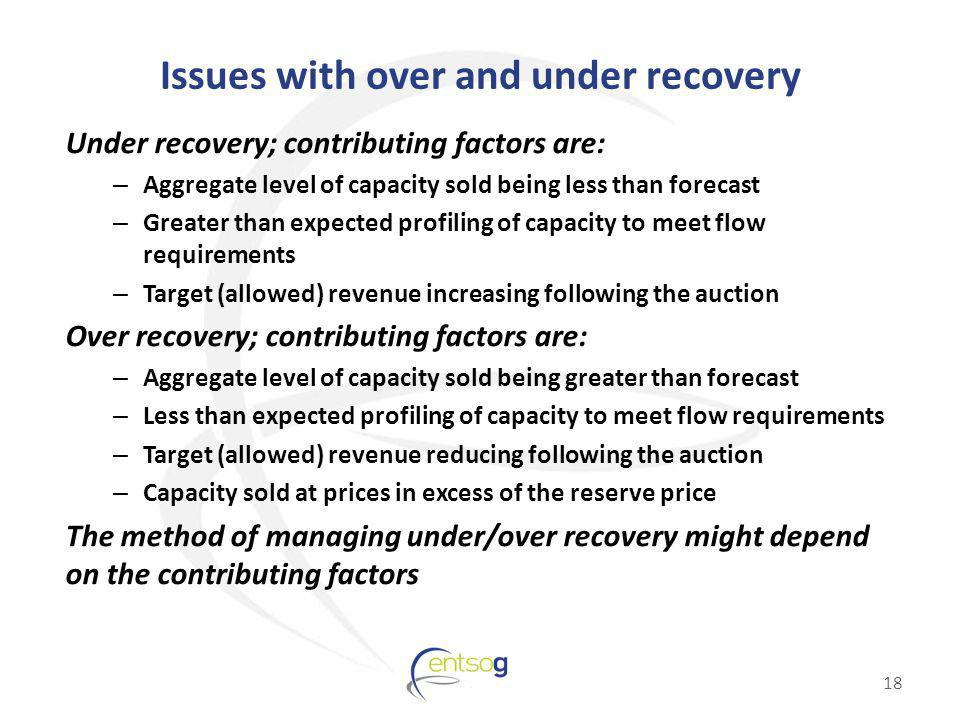 Issues with over and under recovery Under recovery; contributing factors are: – Aggregate level of capacity sold being less than forecast – Greater th