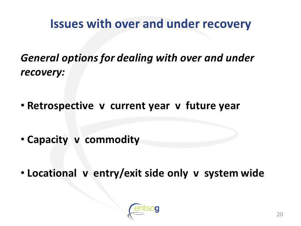 Issues with over and under recovery General options for dealing with over and under recovery: Retrospective v current year v future year Capacity v co