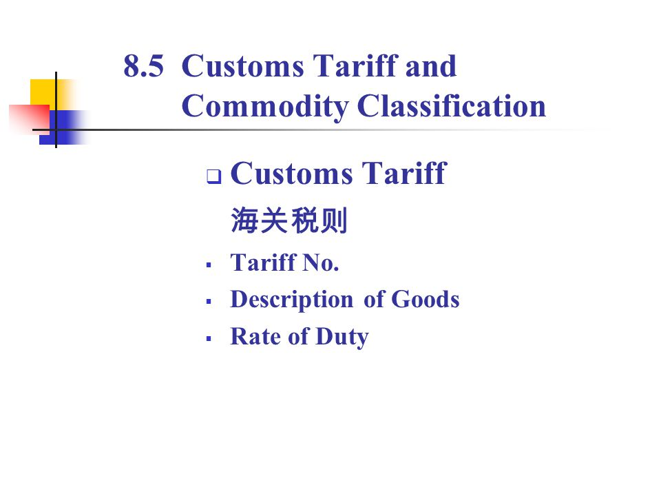 8.5 Customs Tariff and Commodity Classification Customs Tariff Tariff No. Description of Goods Rate of Duty