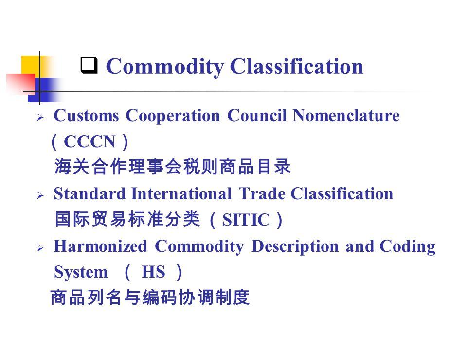Commodity Classification Customs Cooperation Council Nomenclature CCCN Standard International Trade Classification SITIC Harmonized Commodity Descript