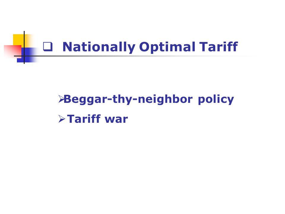 Nationally Optimal Tariff Beggar-thy-neighbor policy Tariff war