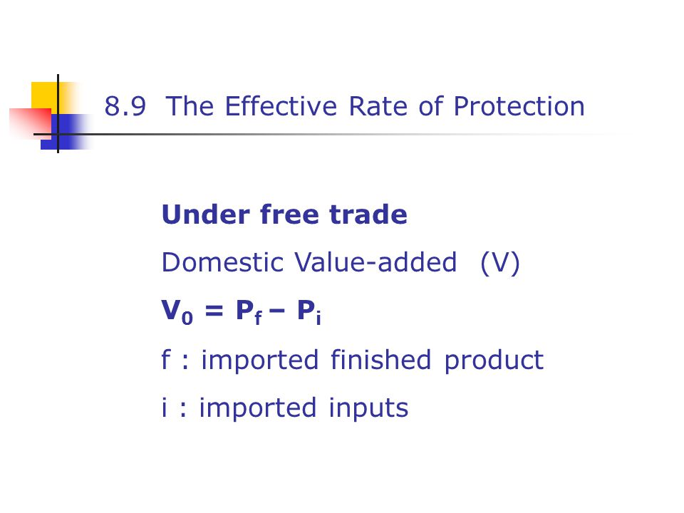 8.9 The Effective Rate of Protection Under free trade Domestic Value-added (V) V 0 = P f – P i f : imported finished product i : imported inputs