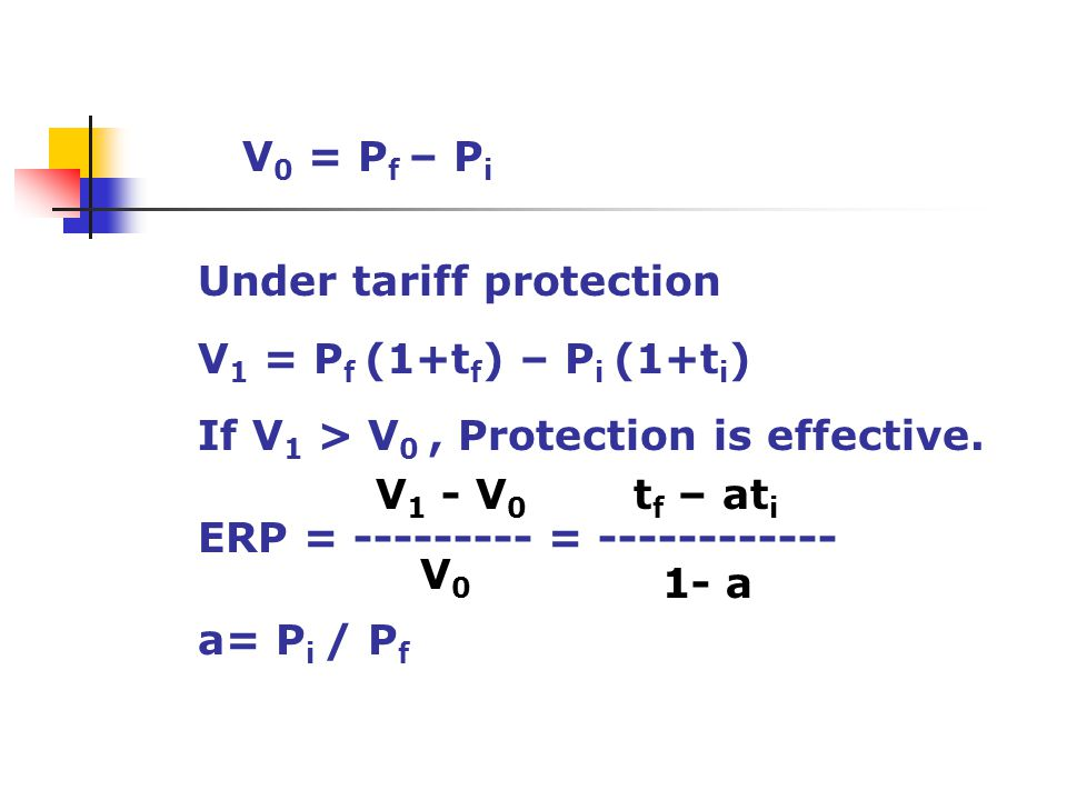 Under tariff protection V 1 = P f (1+t f ) – P i (1+t i ) If V 1 > V 0, Protection is effective. ERP = --------- = ------------ a= P i / P f V 0 = P f