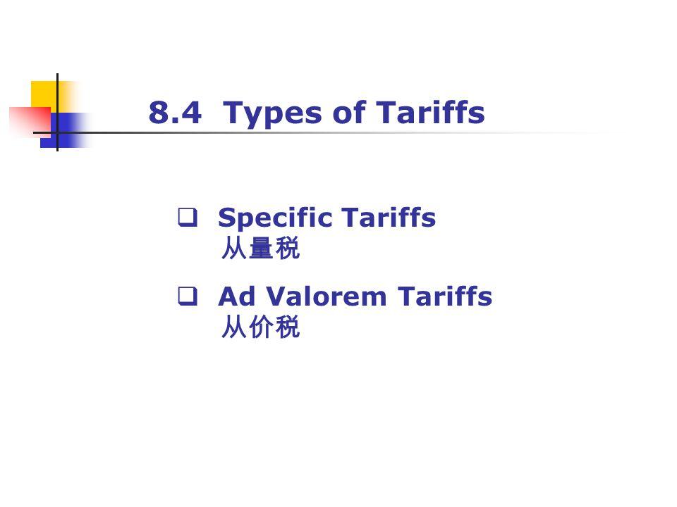 8.4 Types of Tariffs Specific Tariffs Ad Valorem Tariffs