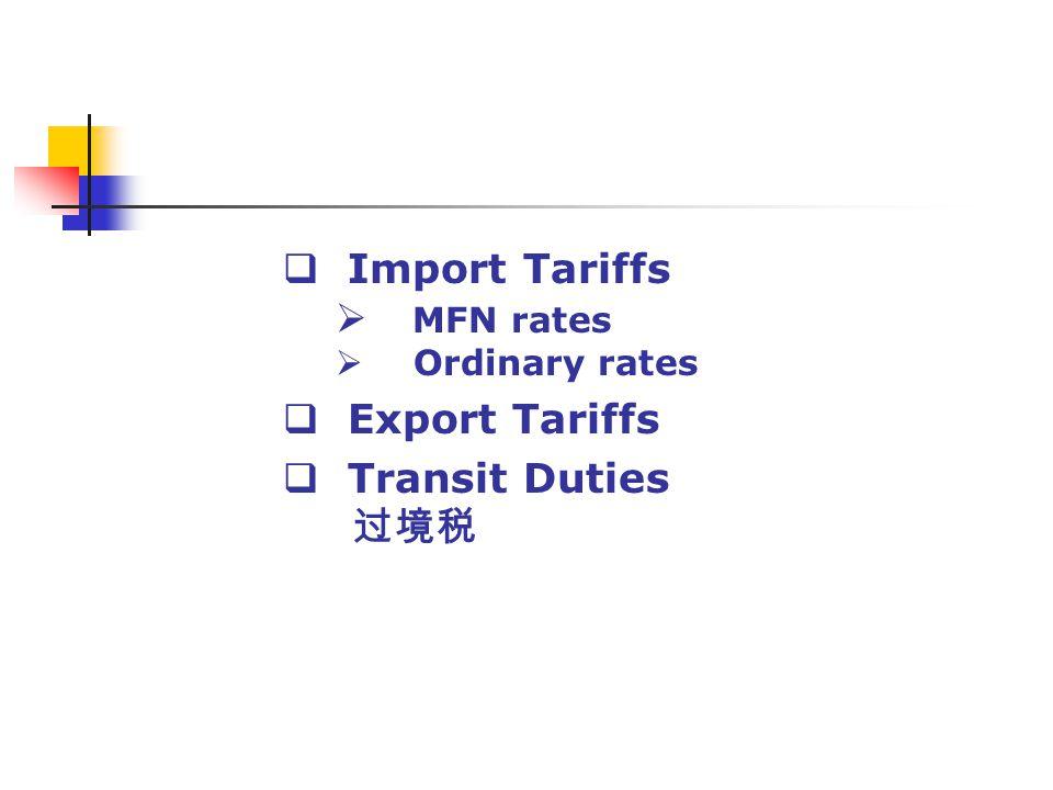 Import Tariffs MFN rates Ordinary rates Export Tariffs Transit Duties