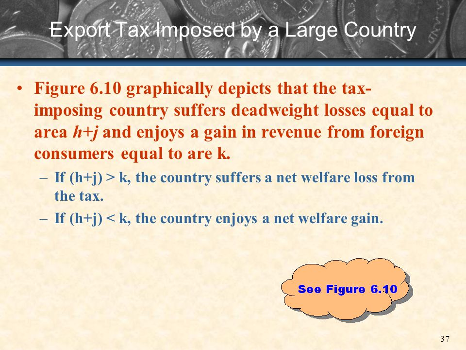 37 Export Tax Imposed by a Large Country Figure 6.10 graphically depicts that the tax- imposing country suffers deadweight losses equal to area h+j an