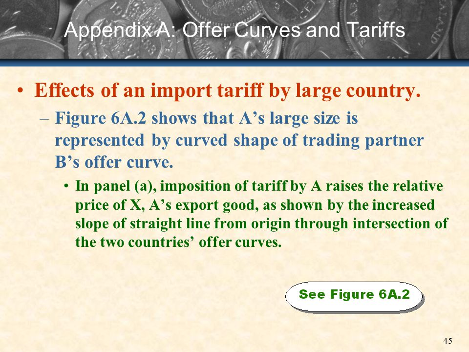 45 Appendix A: Offer Curves and Tariffs Effects of an import tariff by large country. –Figure 6A.2 shows that As large size is represented by curved s