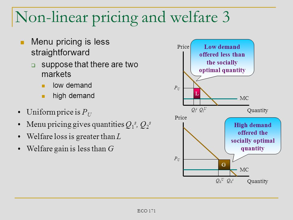 ECO 171 Non-linear pricing and welfare 3 Menu pricing is less straightforward suppose that there are two markets low demand high demand Price Quantity