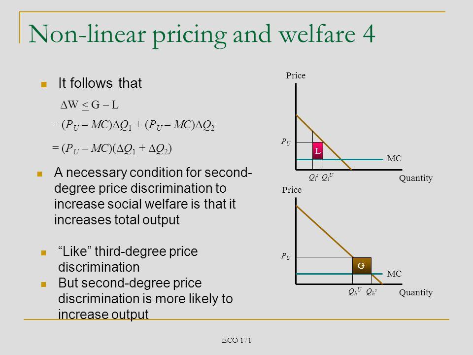 ECO 171 Non-linear pricing and welfare 4 Price Quantity Price Quantity MC PUPU PUPU QlUQlU QhUQhU QlsQls QhsQhs L G = (P U – MC)ΔQ 1 + (P U – MC)ΔQ 2