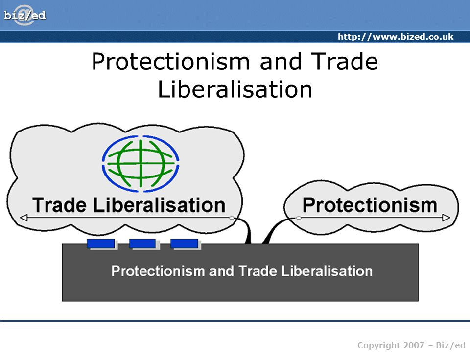 http://www.bized.co.uk Copyright 2007 – Biz/ed Trade Liberalisation GATT – General Agreement on Tariffs and Trade First signed in 1947 – talks on-going since then.