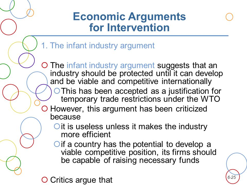 6-25 Economic Arguments for Intervention 1. The infant industry argument The infant industry argument suggests that an industry should be protected un