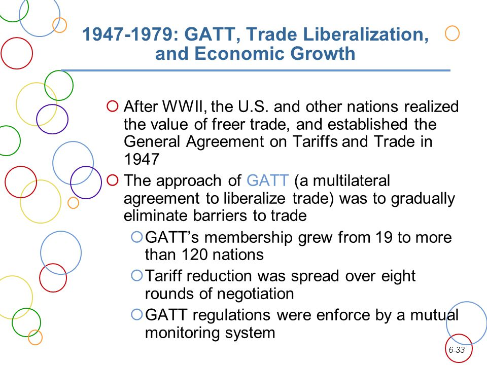 6-33 1947-1979: GATT, Trade Liberalization, and Economic Growth After WWII, the U.S. and other nations realized the value of freer trade, and establis