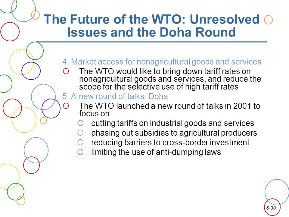 6-38 The Future of the WTO: Unresolved Issues and the Doha Round 4. Market access for nonagricultural goods and services The WTO would like to bring d