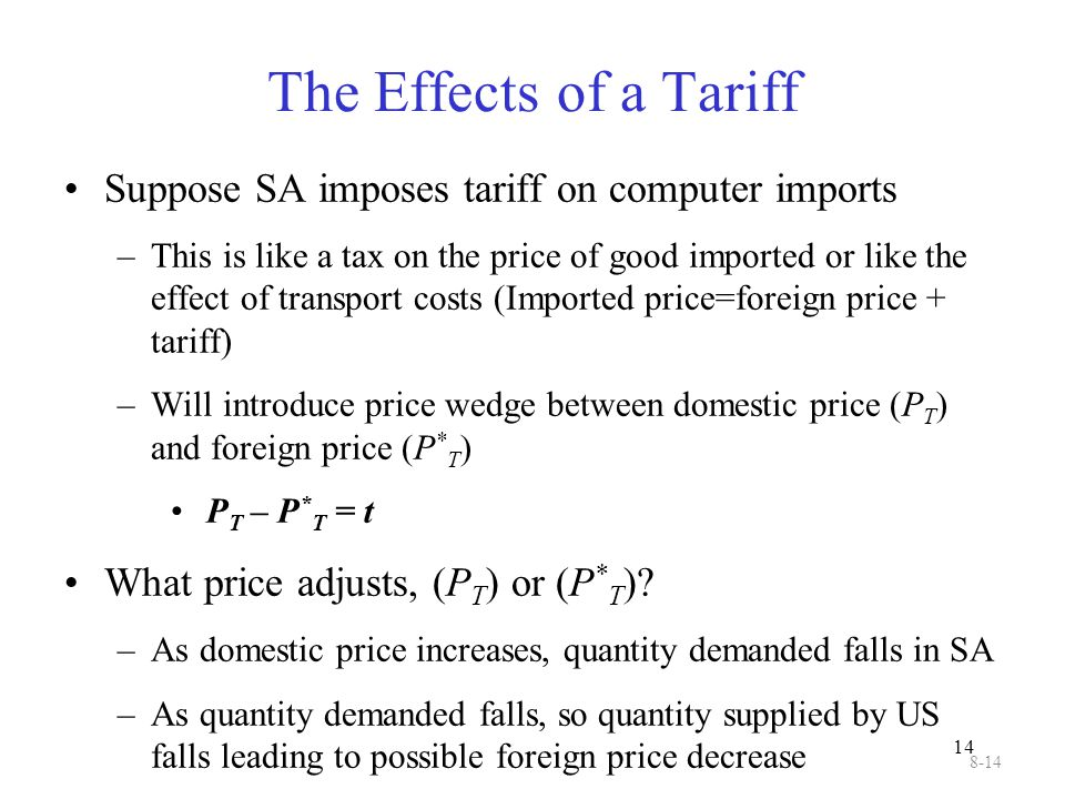 14 The Effects of a Tariff Suppose SA imposes tariff on computer imports –This is like a tax on the price of good imported or like the effect of trans